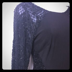 Beaded black evening dress